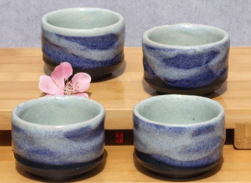 Sake cups - Blue Wave Japanese tactile sake cups X4